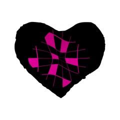 Pink Abstract Flower Standard 16  Premium Heart Shape Cushions by Valentinaart