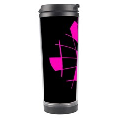 Pink Abstract Flower Travel Tumbler by Valentinaart