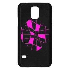 Pink Abstract Flower Samsung Galaxy S5 Case (black) by Valentinaart