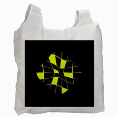 Yellow Abstract Flower Recycle Bag (one Side) by Valentinaart