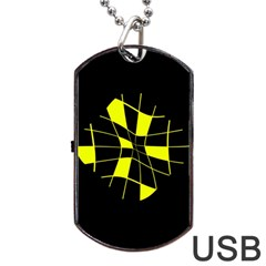 Yellow Abstract Flower Dog Tag Usb Flash (one Side) by Valentinaart