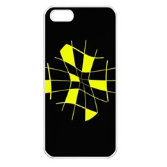 Yellow Abstract Flower Apple Iphone 5 Seamless Case (white) by Valentinaart