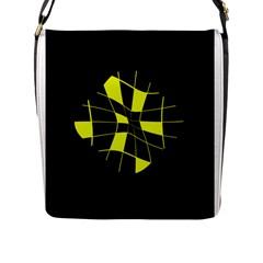 Yellow Abstract Flower Flap Messenger Bag (l)  by Valentinaart