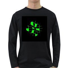 Green Abstract Flower Long Sleeve Dark T Shirts by Valentinaart