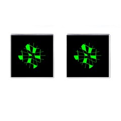 Green Abstract Flower Cufflinks (square) by Valentinaart