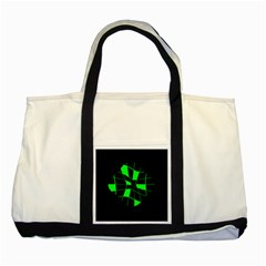Green Abstract Flower Two Tone Tote Bag by Valentinaart