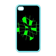 Green Abstract Flower Apple Iphone 4 Case (color) by Valentinaart