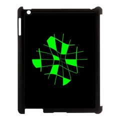 Green Abstract Flower Apple Ipad 3/4 Case (black) by Valentinaart