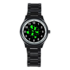 Green Abstract Flower Stainless Steel Round Watch by Valentinaart