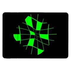 Green Abstract Flower Samsung Galaxy Tab 8 9  P7300 Flip Case by Valentinaart