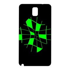Green Abstract Flower Samsung Galaxy Note 3 N9005 Hardshell Back Case by Valentinaart