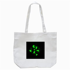 Green Abstract Flower Tote Bag (white) by Valentinaart