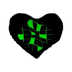 Green Abstract Flower Standard 16  Premium Flano Heart Shape Cushions by Valentinaart