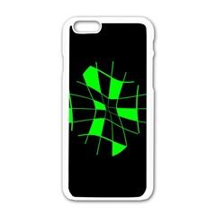Green Abstract Flower Apple Iphone 6/6s White Enamel Case by Valentinaart