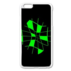 Green Abstract Flower Apple Iphone 6 Plus/6s Plus Enamel White Case by Valentinaart