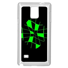 Green Abstract Flower Samsung Galaxy Note 4 Case (white) by Valentinaart