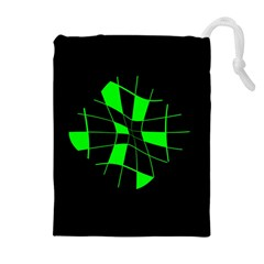 Green Abstract Flower Drawstring Pouches (extra Large) by Valentinaart