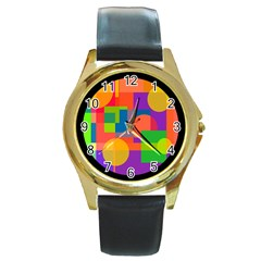 Colorful Circle  Round Gold Metal Watch by Valentinaart