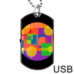 Colorful Circle  Dog Tag Usb Flash (one Side) by Valentinaart
