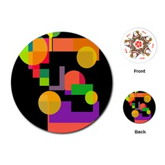 Colorful Abstraction Playing Cards (round)  by Valentinaart