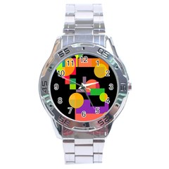 Colorful Abstraction Stainless Steel Analogue Watch by Valentinaart