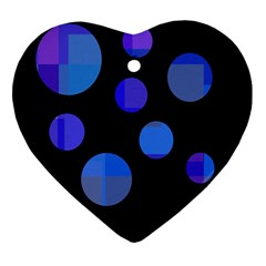 Blue Circles  Ornament (heart)  by Valentinaart