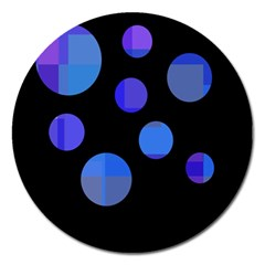 Blue Circles  Magnet 5  (round) by Valentinaart