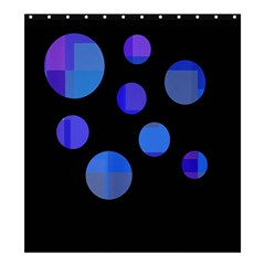Blue Circles  Shower Curtain 66  X 72  (large)  by Valentinaart
