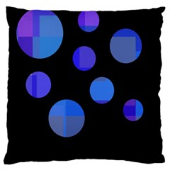 Blue Circles  Large Cushion Case (two Sides) by Valentinaart