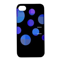Blue Circles  Apple Iphone 4/4s Hardshell Case With Stand by Valentinaart
