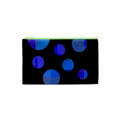 Blue Circles  Cosmetic Bag (xs) by Valentinaart