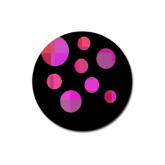 Pink Abstraction Magnet 3  (round) by Valentinaart