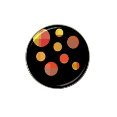 Orange Abstraction Hat Clip Ball Marker (4 Pack) by Valentinaart