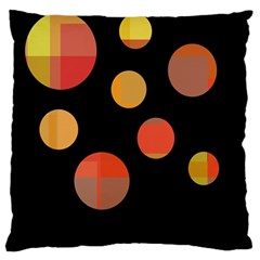 Orange abstraction Large Cushion Case (Two Sides) by Valentinaart