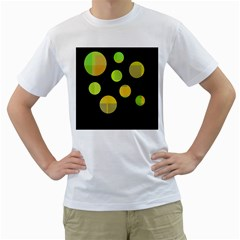 Green Abstract Circles Men s T Shirt (white) (two Sided) by Valentinaart