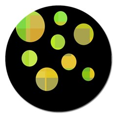 Green Abstract Circles Magnet 5  (round) by Valentinaart