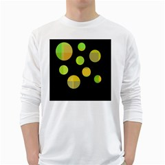 Green Abstract Circles White Long Sleeve T Shirts by Valentinaart