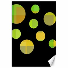 Green Abstract Circles Canvas 24  X 36  by Valentinaart