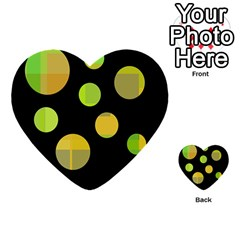 Green Abstract Circles Multi Purpose Cards (heart)