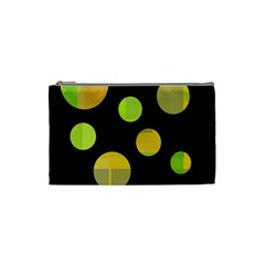 Green Abstract Circles Cosmetic Bag (small)  by Valentinaart