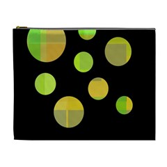 Green Abstract Circles Cosmetic Bag (xl) by Valentinaart
