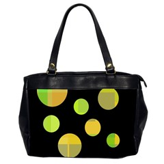 Green Abstract Circles Office Handbags (2 Sides)  by Valentinaart