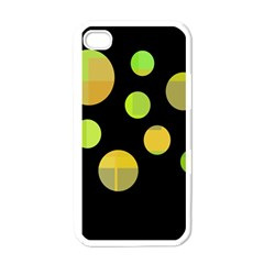 Green Abstract Circles Apple Iphone 4 Case (white) by Valentinaart