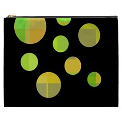Green Abstract Circles Cosmetic Bag (xxxl)  by Valentinaart