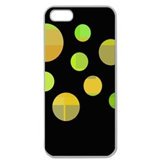 Green Abstract Circles Apple Seamless Iphone 5 Case (clear) by Valentinaart