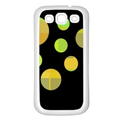 Green Abstract Circles Samsung Galaxy S3 Back Case (white) by Valentinaart