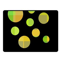 Green Abstract Circles Double Sided Fleece Blanket (small)  by Valentinaart