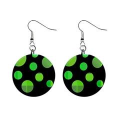 Green Circles Mini Button Earrings by Valentinaart