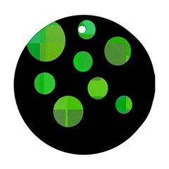 Green Circles Round Ornament (two Sides)  by Valentinaart