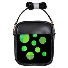 Green Circles Girls Sling Bags by Valentinaart